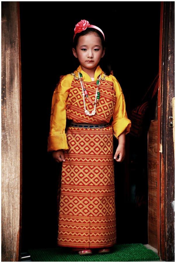 Πορτρέτο του bhutanese νέου κοριτσιού στοκ φωτογραφία με δικαίωμα ελεύθερης χρήσης