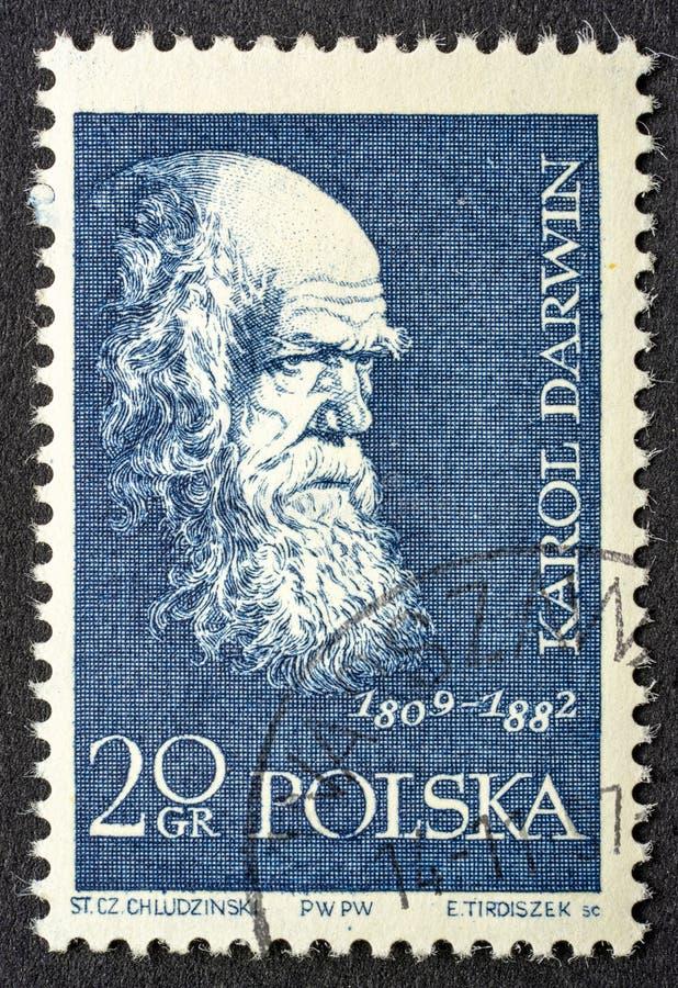 Πορτρέτο του Charles Δαρβίνος στην ταχυδρομική σφραγίδα στοκ φωτογραφίες