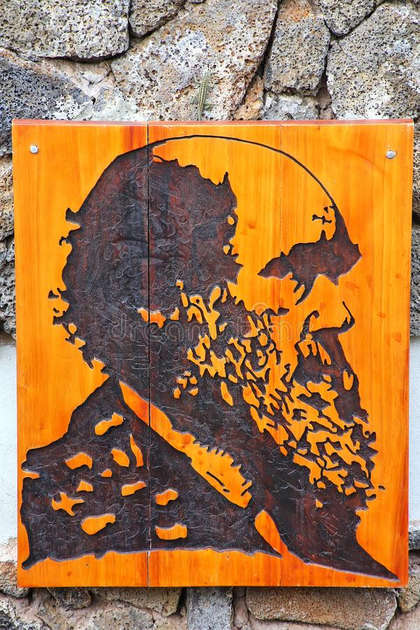 Πορτρέτο του Charles Δαρβίνος Galapagos στο εθνικό πάρκο Headquarte στοκ εικόνα