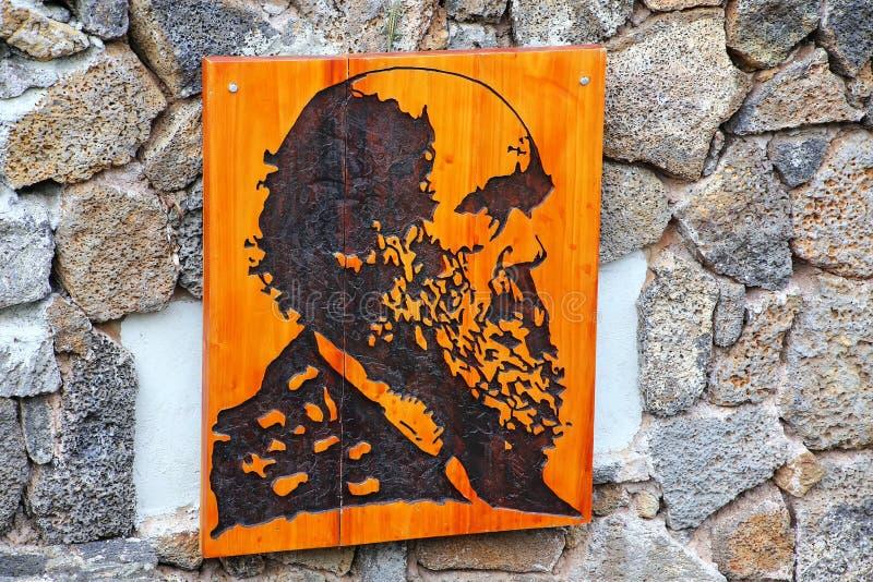 Πορτρέτο του Charles Δαρβίνος Galapagos στο εθνικό πάρκο Headquarte στοκ φωτογραφία με δικαίωμα ελεύθερης χρήσης