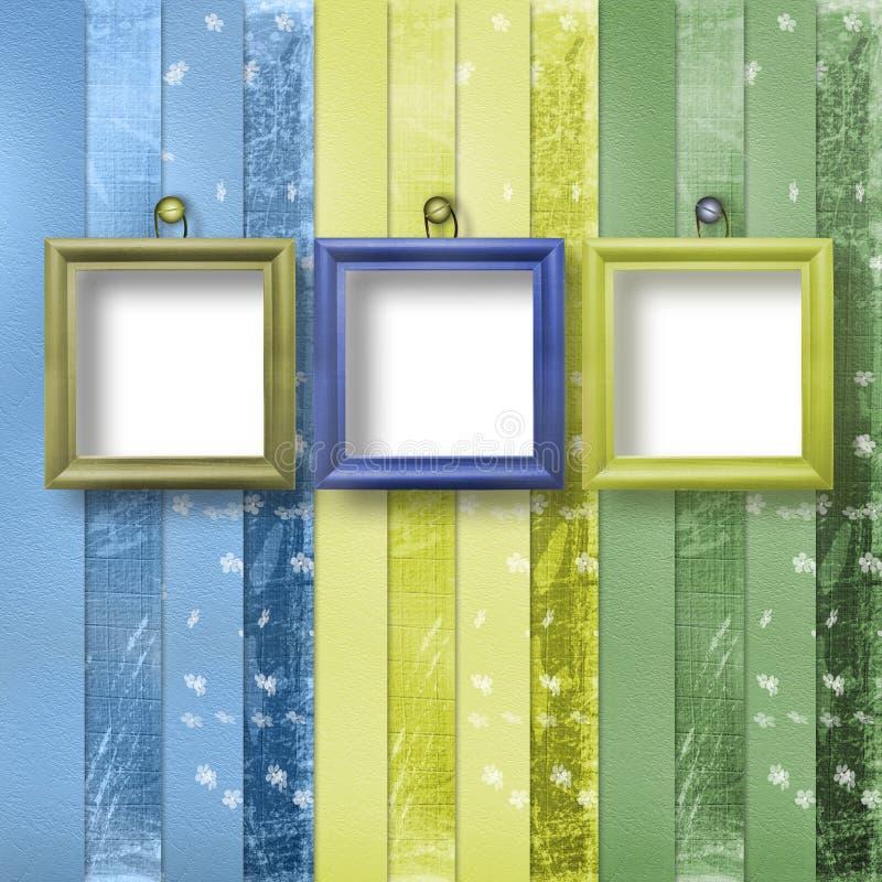 πορτρέτο τρία πλαισίων ξύλινο απεικόνιση αποθεμάτων