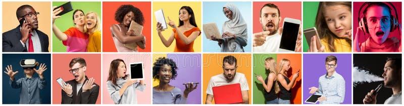 Πορτρέτο των ανθρώπων που χρησιμοποιούν τις διαφορετικές συσκευές στο πολύχρωμο υπόβαθρο στοκ φωτογραφίες με δικαίωμα ελεύθερης χρήσης