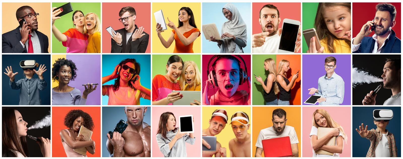 Πορτρέτο των ανθρώπων που χρησιμοποιούν τις διαφορετικές συσκευές στο πολύχρωμο υπόβαθρο στοκ εικόνα με δικαίωμα ελεύθερης χρήσης