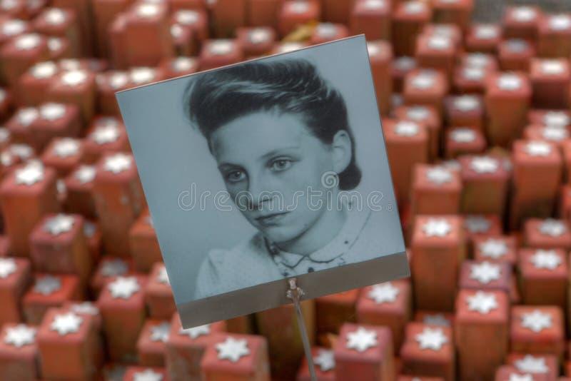 Πορτρέτο των θυμάτων του ολοκαυτώματος στην αναμνηστική πέτρα 102.000 στο στρατόπεδο Westerbork στοκ εικόνα με δικαίωμα ελεύθερης χρήσης