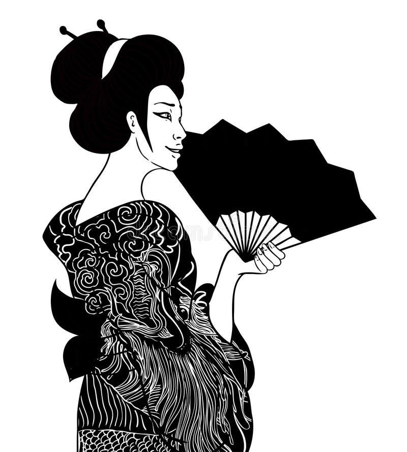 Πορτρέτο των παραδοσιακών όμορφων ιαπωνικών γυναικών με τον ανεμιστήρα Geish απεικόνιση αποθεμάτων