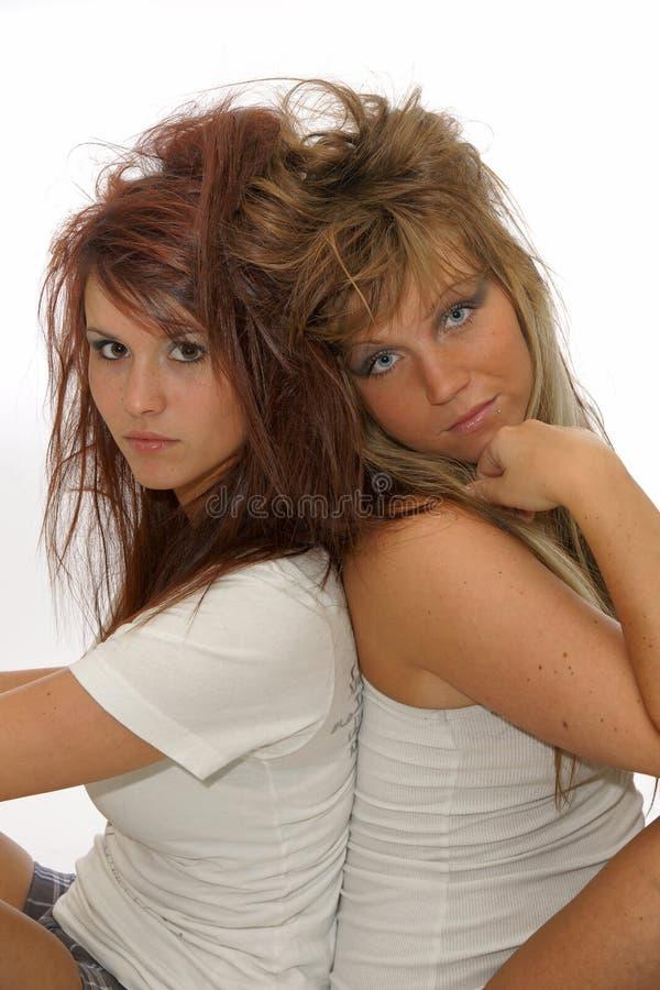 Πορτρέτο των όμορφων γυναικών διδύμων με το hairstyle στοκ φωτογραφία με δικαίωμα ελεύθερης χρήσης