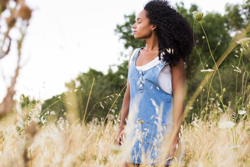 Πορτρέτο υπαίθρια μιας όμορφης νέας αμερικανικής γυναίκας afro στο SU στοκ φωτογραφίες με δικαίωμα ελεύθερης χρήσης