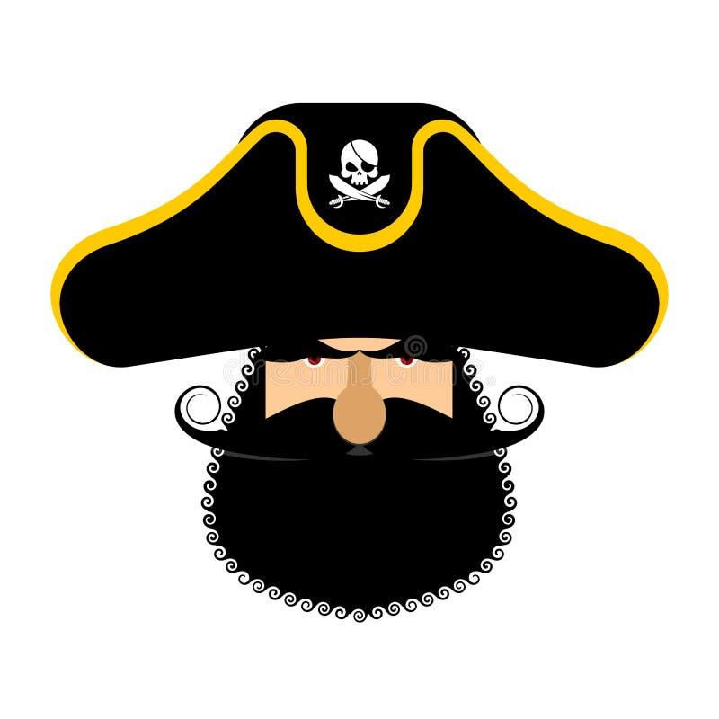 Πορτρέτο Ppirate στο καπέλο Μπάλωμα ματιών και καπνίζοντας σωλήνας κωλυσιεργία απεικόνιση αποθεμάτων