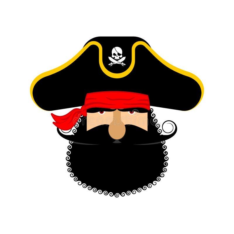 Πορτρέτο Ppirate στο καπέλο Μπάλωμα ματιών και καπνίζοντας σωλήνας κωλυσιεργία ελεύθερη απεικόνιση δικαιώματος