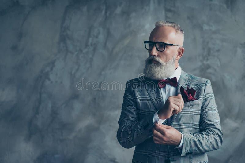 Πορτρέτο virile όμορφου πολυτελούς καθιερώνοντος τη μόδα μοντέρνου ευφυούς στοκ εικόνα