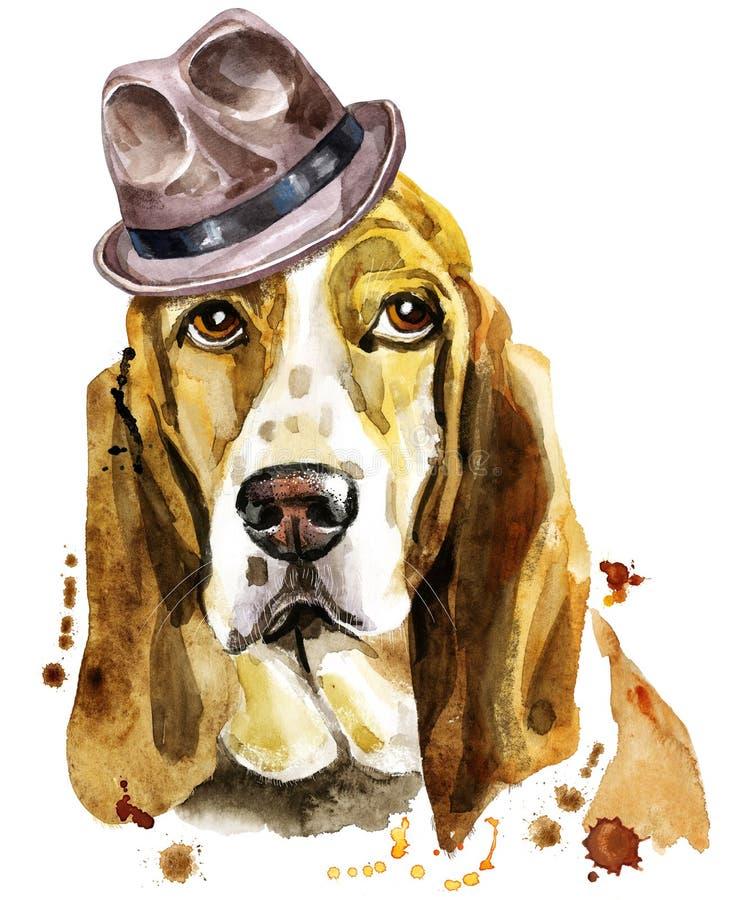 Πορτρέτο Watercolor του κυνηγόσκυλου μπασέ σε ένα καφετί καπέλο διανυσματική απεικόνιση