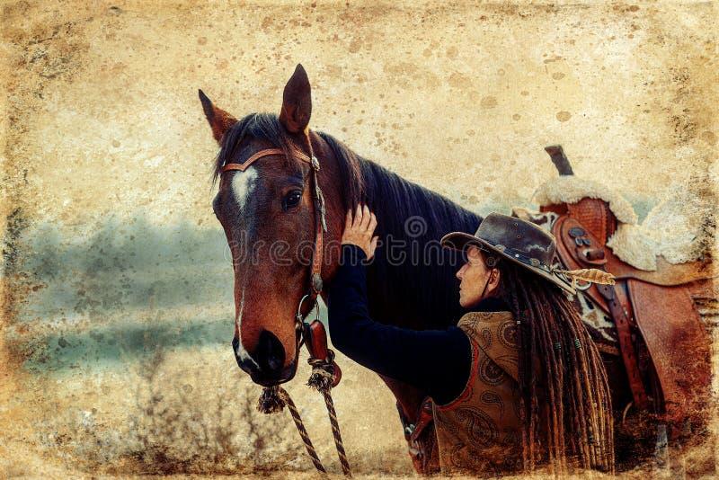 Πορτραίτο γυναικών και αλόγων σε εξωτερικό χώρο Γυναίκα που χαϊδεύει άλογο Παλιό εφέ φωτογραφίας στοκ εικόνα με δικαίωμα ελεύθερης χρήσης