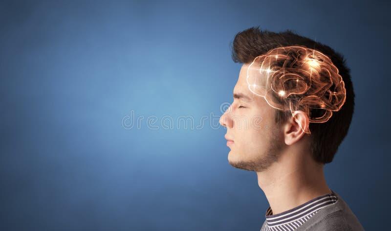 Πορτραίτο με μυαλό και ιδέα καταιγισμού ιδεών στοκ φωτογραφία