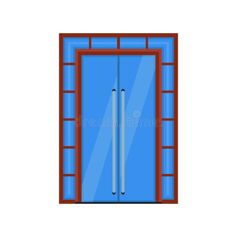 Πορτών καθρεφτών διανυσματικό μπλε γυαλί πλαισίων εικονιδίων εσωτερικό Κινούμενα σχέδια μέσα στην επίπεδη κλειστή αρχιτεκτονική ε διανυσματική απεικόνιση