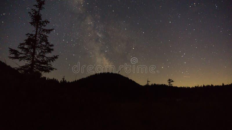 Πορφυρά αστέρια νυχτερινού ουρανού πέρα από το βουνό Γαλακτώδης γαλαξίας τρόπων στη θερινή έναστρη νύχτα στοκ εικόνες