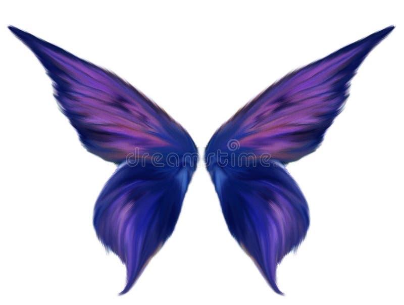 Πορφυρά επενδυμένα με φτερά φτερά νεράιδων διανυσματική απεικόνιση