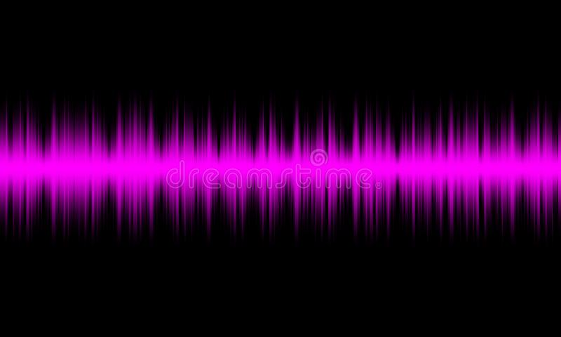 Πορφυρά ψηφιακά ακουστικά υγιή κύματα εξισωτών στο μαύρο υπόβαθρο, διανυσματική απεικόνιση