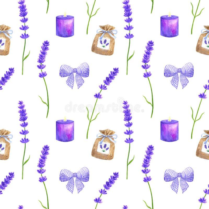 Πορφυρά lavender λουλούδια, ιώδες τόξο, σακούλι, καίγοντας κερί Άνευ ραφής σχέδιο στο ύφος της Προβηγκίας r διανυσματική απεικόνιση