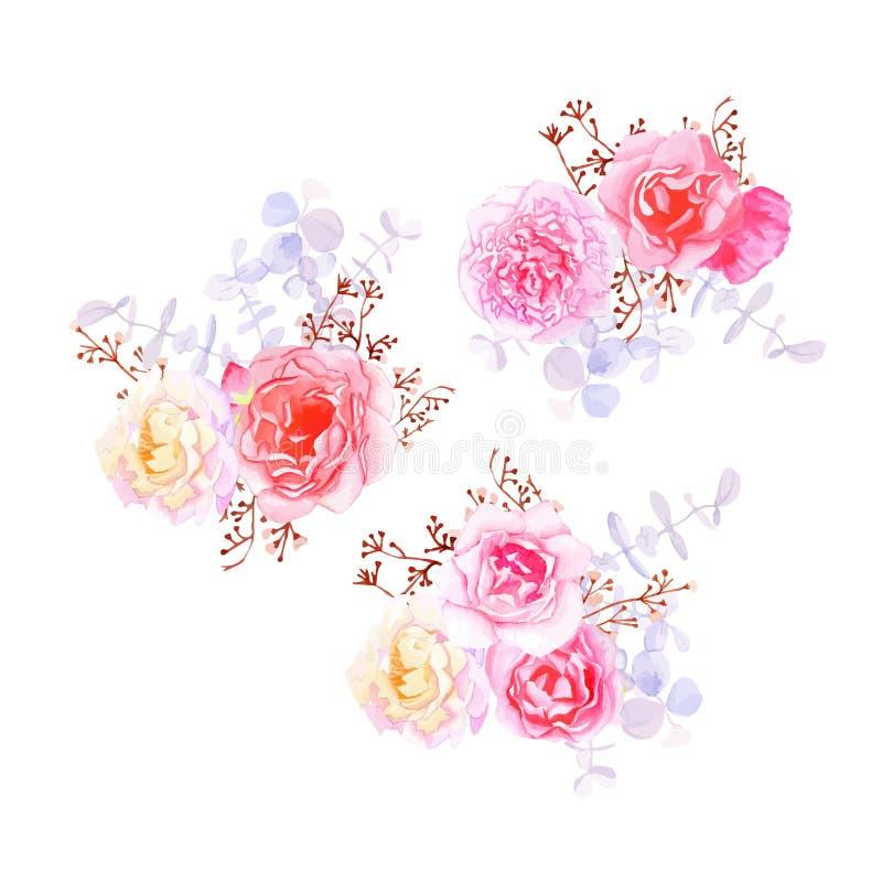 Πορφυρές γλυκές γαλλικές ορισμένες ανθοδέσμες λουλουδιών ελεύθερη απεικόνιση δικαιώματος