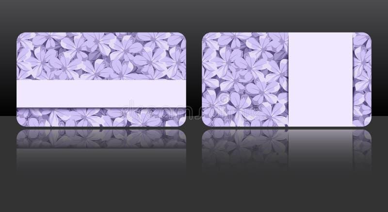 Πορφυρές επαγγελματικές κάρτες με τα floral σχέδια Διάνυσμα eps-10 ελεύθερη απεικόνιση δικαιώματος