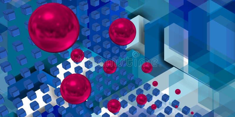 Πορφυρές σφαίρες που πετούν σε ένα διάστημα τεχνολογίας απεικόνιση αποθεμάτων