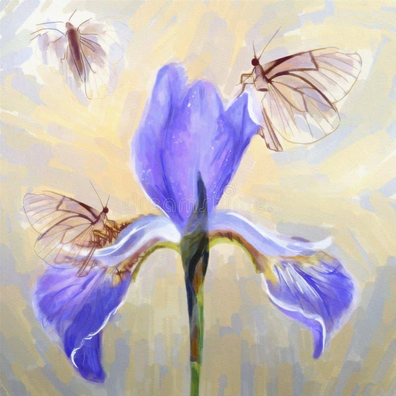 Πορφυρή ίριδα πολυτέλειας με την πεταλούδα στο watercolor διανυσματική απεικόνιση