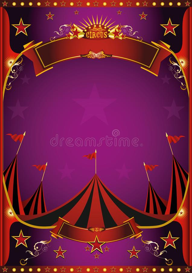 Πορφυρή αφίσα τσίρκων απεικόνιση αποθεμάτων