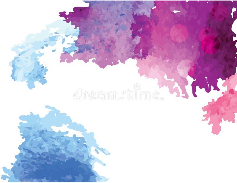 Πορφυρή αφηρημένης χεριών βουρτσών watercolor υποβάθρου διανυσματικών μπλε και γκρίζας χειμώνα έννοια που σύρονται, για το υπόβαθ διανυσματική απεικόνιση