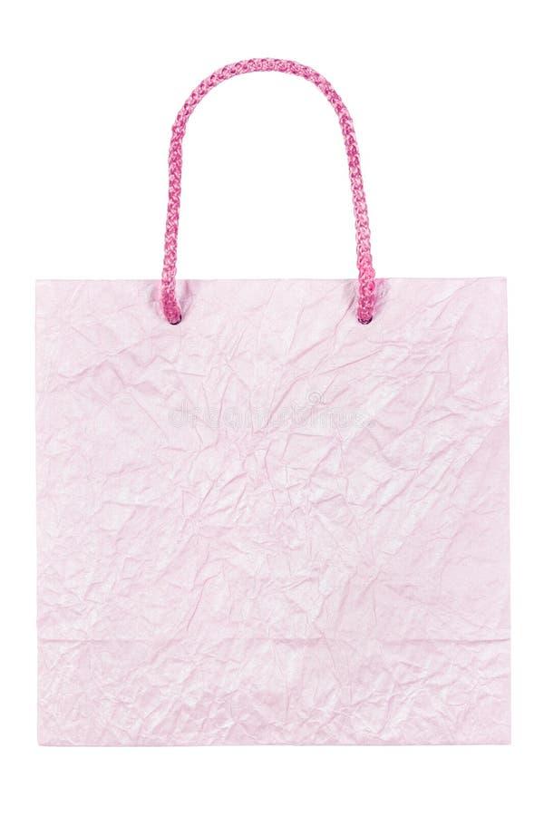 Πορφυρή ζαρωμένη τσάντα εγγράφου που απομονώνεται στο λευκό στοκ εικόνες με δικαίωμα ελεύθερης χρήσης