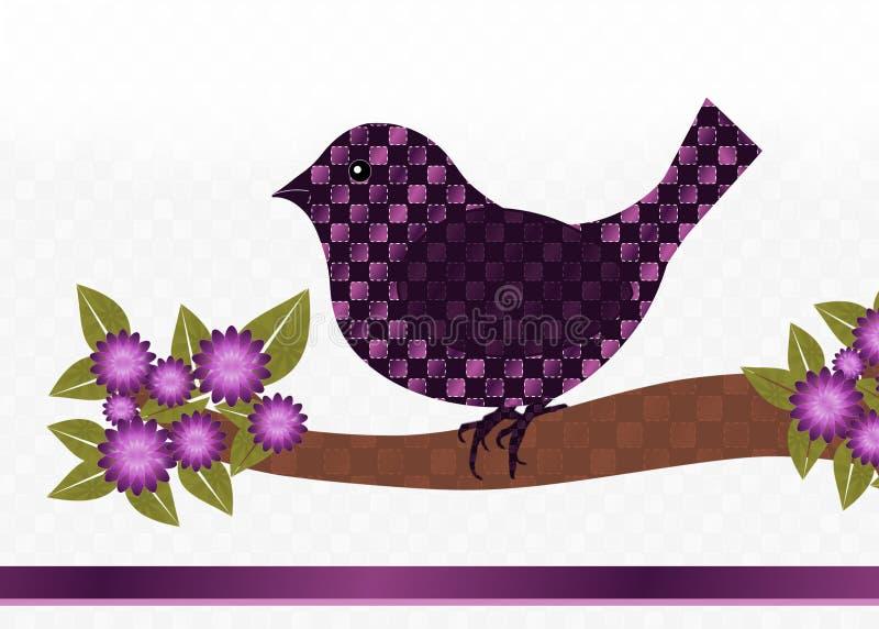 Πορφυρή κάρτα πουλιών στοκ εικόνα