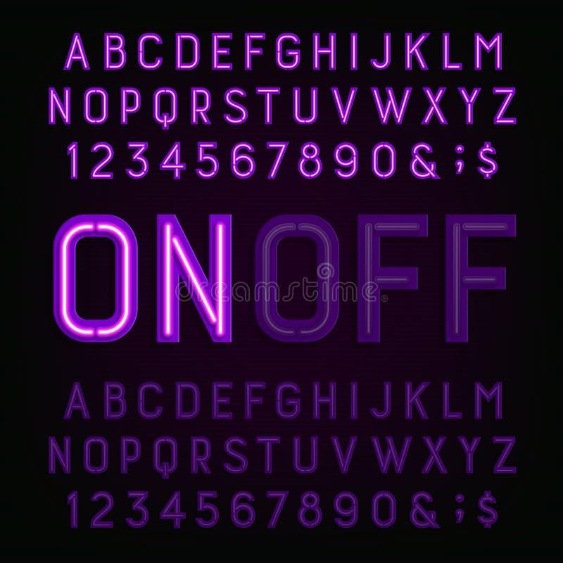 Πορφυρή πηγή αλφάβητου νέου ελαφριά Δύο διαφορετικές μορφές Φω'τα στη θέση on ή στη θέση off απεικόνιση αποθεμάτων