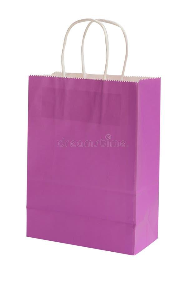 Πορφυρή τσάντα αγορών που απομονώνεται στο άσπρο υπόβαθρο Ψαλιδίζοντας μονοπάτι στοκ εικόνες
