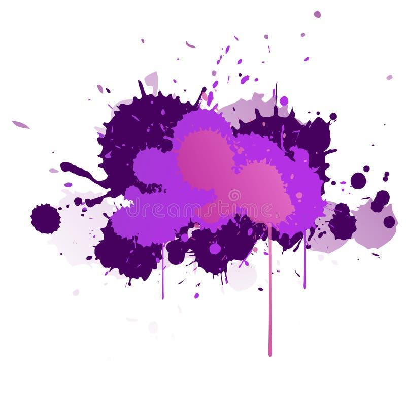 Πορφυροί, ιώδεις, ιώδεις και μπλε λεκέδες watercolor Φωτεινό στοιχείο χρώματος απεικόνιση αποθεμάτων