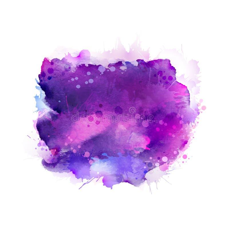 Πορφυροί, ιώδεις, ιώδεις και μπλε λεκέδες watercolor Φωτεινό στοιχείο χρώματος για το αφηρημένο καλλιτεχνικό υπόβαθρο ελεύθερη απεικόνιση δικαιώματος