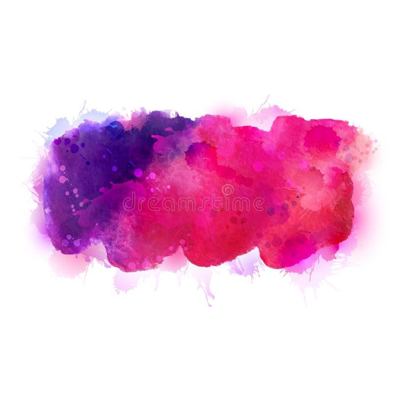 Πορφυροί, ιώδεις, ιώδεις και ρόδινοι λεκέδες watercolor Φωτεινό στοιχείο χρώματος για το αφηρημένο καλλιτεχνικό υπόβαθρο ελεύθερη απεικόνιση δικαιώματος