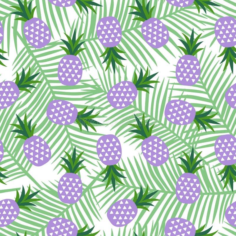 Πορφυρός ανανάς με το γεωμετρικό γλυκό σχέδιο της θερινής τροπικό εξωτικό Χαβάης φρούτων τριγώνων φύλλα στα ανοικτό πράσινο φοινι διανυσματική απεικόνιση