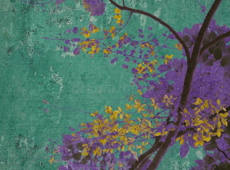 πορφυρός κίτρινος ανθών aquamarine απεικόνιση αποθεμάτων