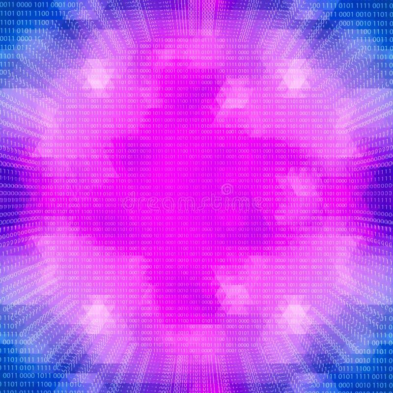 Πορφυρός καμμένος κβαντικός επεξεργαστής σε ένα υπόβαθρο δυαδικού κώδικα διανυσματική απεικόνιση