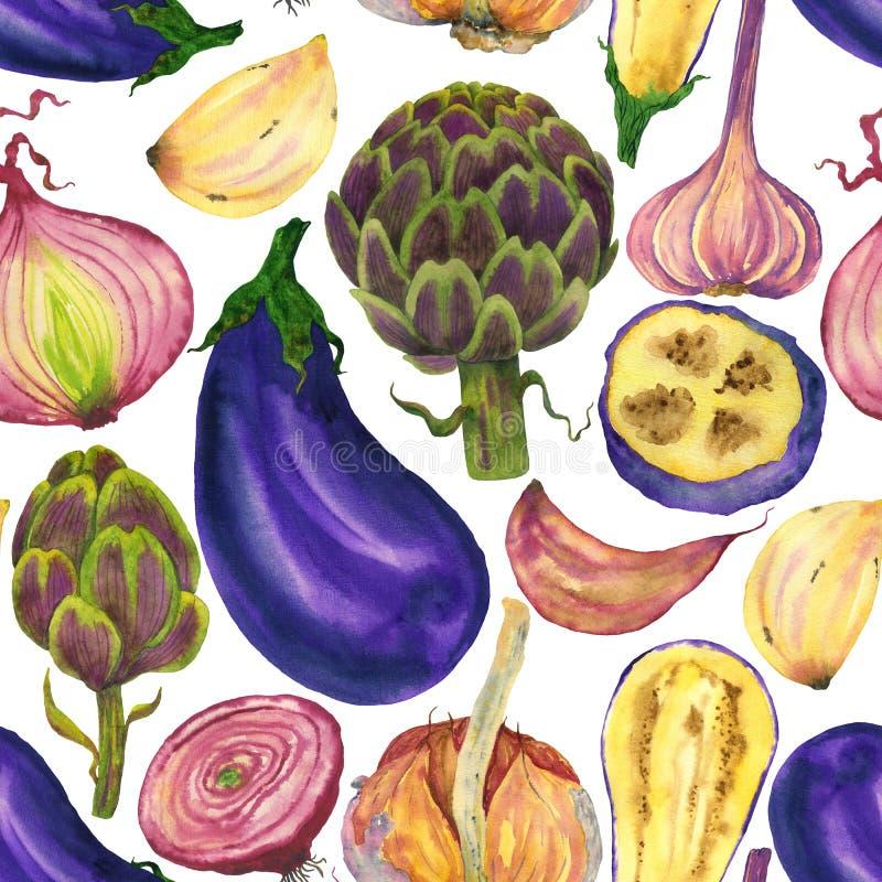 Πορφυρό άνευ ραφής σχέδιο λαχανικών: μελιτζάνα, σκόρδο, αγκινάρα και κρεμμύδι ελεύθερη απεικόνιση δικαιώματος
