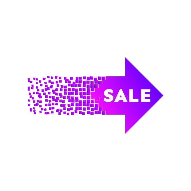 Πορφυρό έμβλημα βελών πώλησης με την έκρηξη διανυσματική απεικόνιση