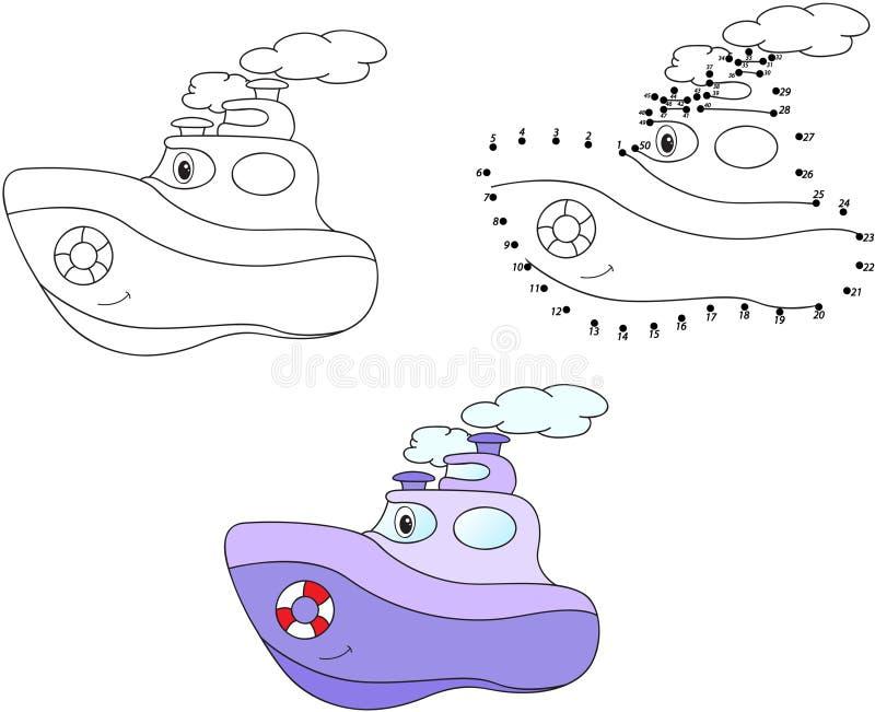 Πορφυρό ατμόπλοιο κινούμενων σχεδίων επίσης corel σύρετε το διάνυσμα απεικόνισης Χρωματισμός και σημείο διανυσματική απεικόνιση