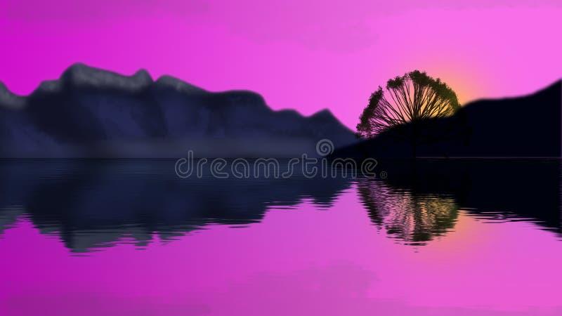 Πορφυρό ηλιοβασίλεμα πέρα από τα βουνά και τη λίμνη ελεύθερη απεικόνιση δικαιώματος