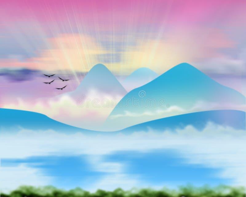 πορφυρό ηλιοβασίλεμα απεικόνιση αποθεμάτων