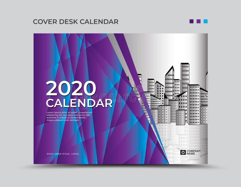 Πορφυρό ημερολογιακό 2020 πρότυπο γραφείων κάλυψης, παρουσίαση, ιπτάμενο φυλλάδιων, κάλυψη ετήσια εκθέσεων, βιβλίο, διαφήμιση, εκ διανυσματική απεικόνιση