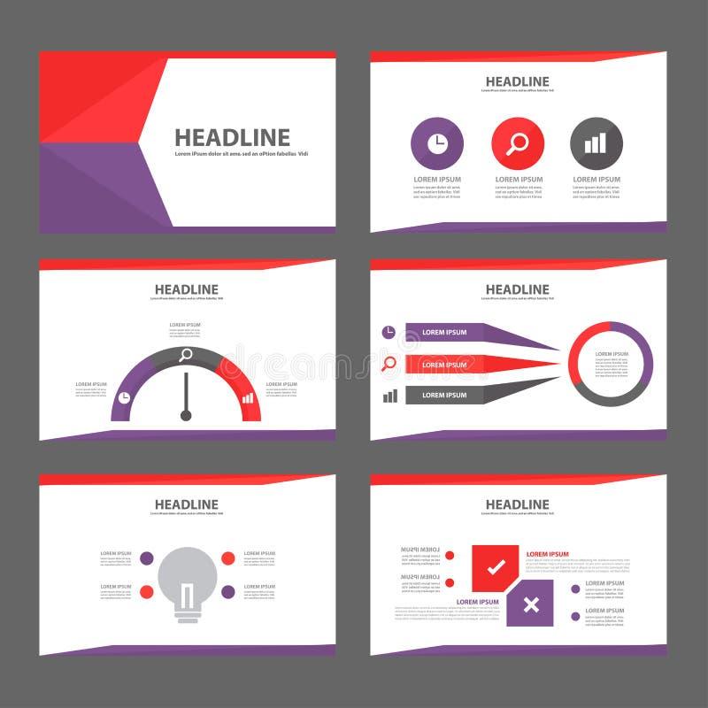 Πορφυρό και κόκκινο για πολλές χρήσεις επίπεδο σχέδιο προτύπων ιστοχώρου φυλλάδιων ιπτάμενων φυλλάδιων διανυσματική απεικόνιση