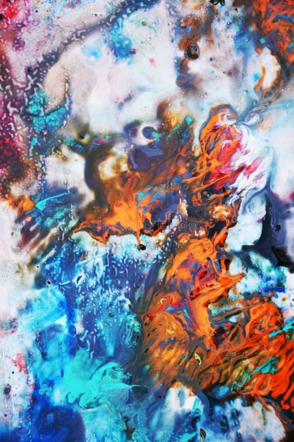 Πορφυρό κόκκινο άσπρο ρόδινο πορτοκαλί χρώμα watercolor, μαλακά χρώματα μιγμάτων, υπόβαθρο σημείων ζωγραφικής, ζωηρόχρωμο αφηρημέ απεικόνιση αποθεμάτων