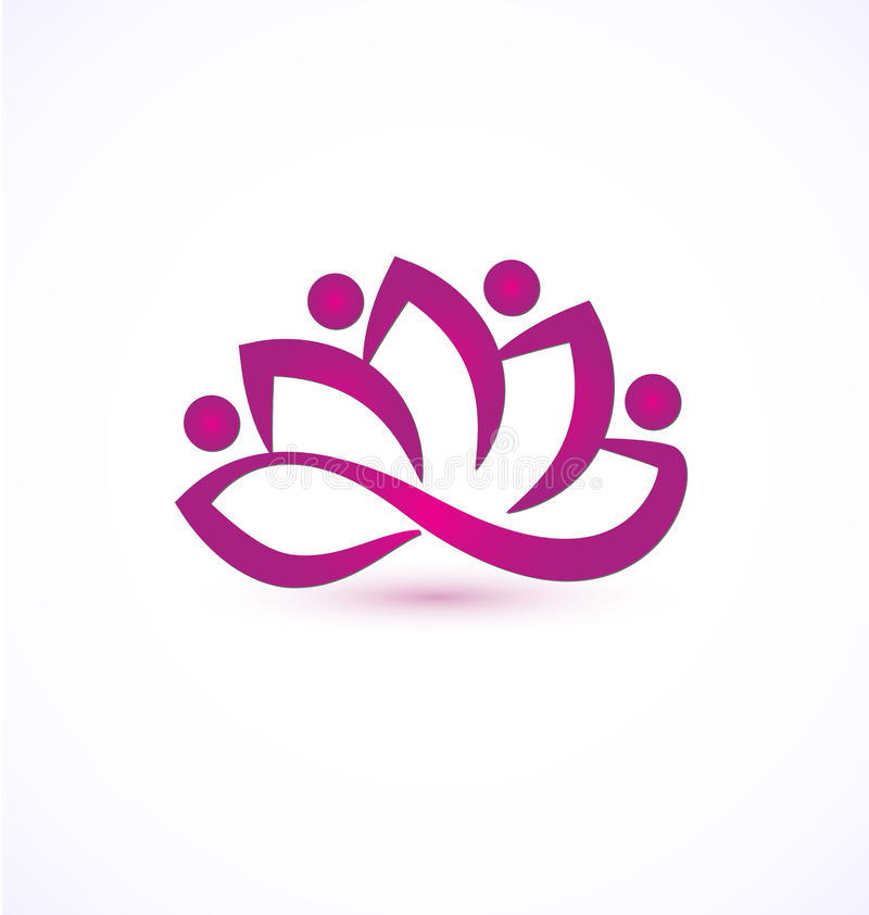 Πορφυρό λογότυπο λουλουδιών λωτού ελεύθερη απεικόνιση δικαιώματος
