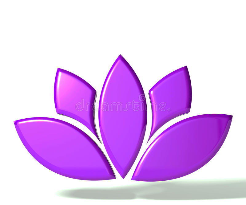 Πορφυρό λουλούδι λωτού τρισδιάστατο ελεύθερη απεικόνιση δικαιώματος