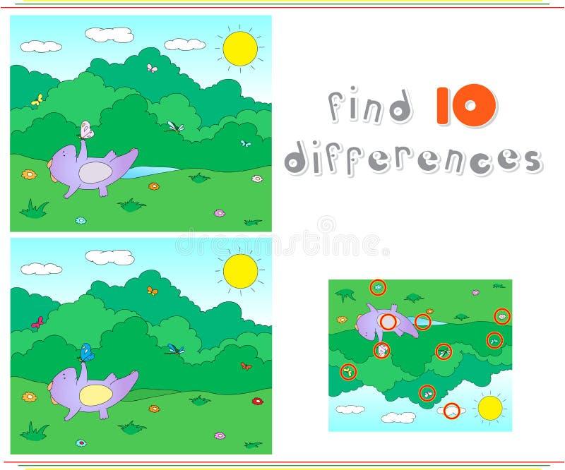 Πορφυρό παιχνίδι δράκων στο λιβάδι καλοκαιριού ή άνοιξης Educationa διανυσματική απεικόνιση