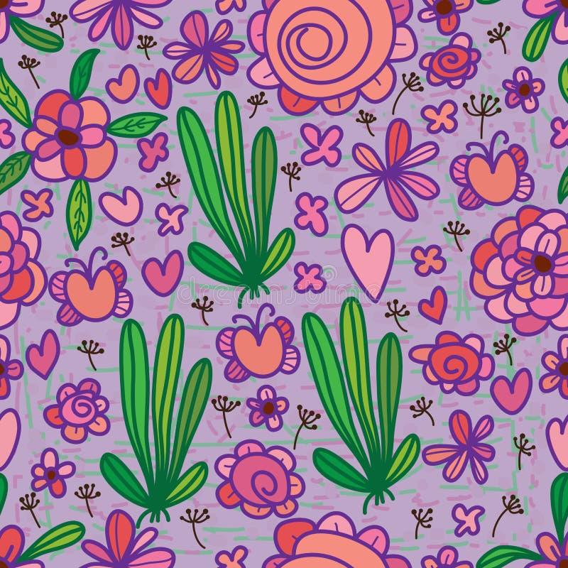 Πορφυρό πράσινο άνευ ραφής σχέδιο λουλουδιών ελεύθερη απεικόνιση δικαιώματος